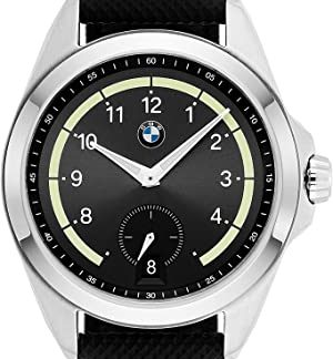 bmw bmw5004 mens stainless steel quartz watch with leather strap black