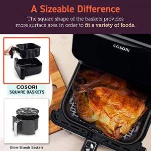 sizeable difference COSORI premium 5.8 quart air fryer model CP358-AF