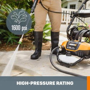 1600 psi high pressure rating worx wg604 electric pressure washer